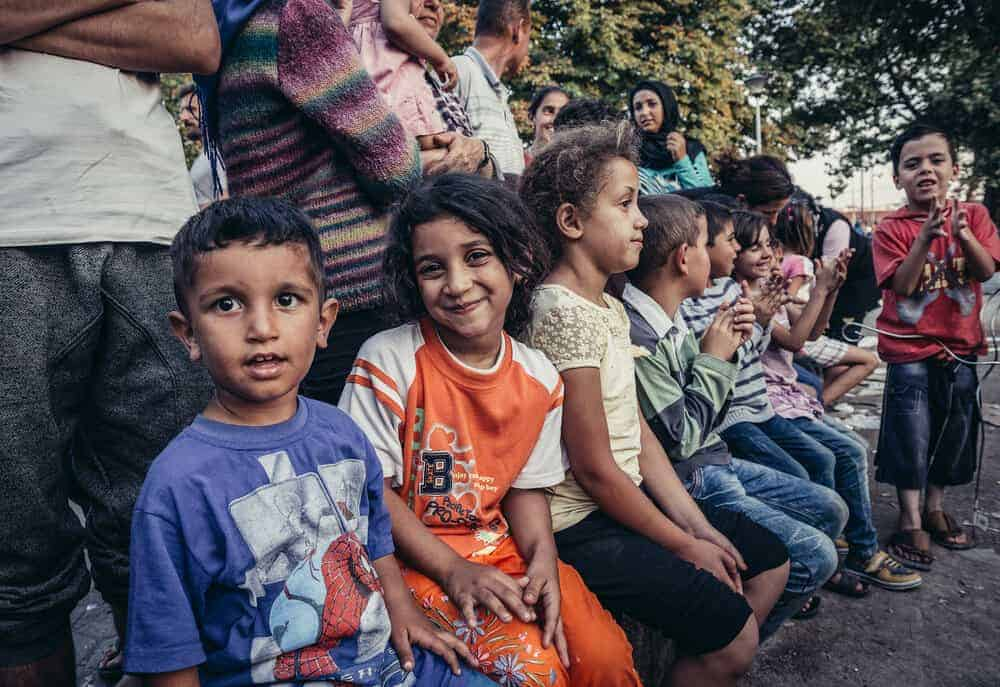 Children in a makeshift refugee camp in one of the parks in Belgrade. Photo: Shutterstock