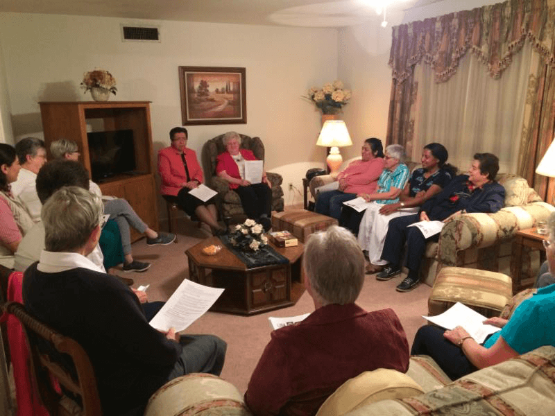 Pre-Novices gathered with CCVI Sisters at Emmaus Community