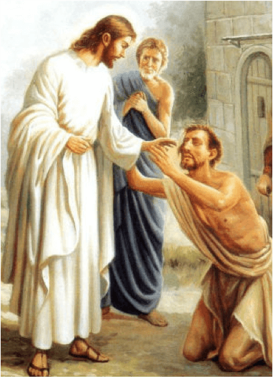 Jesus healing a man who was blind from birth.