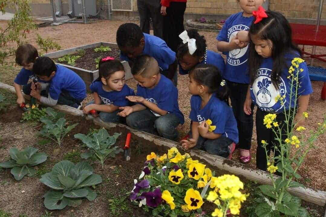 At Carroll Early Childhood Center, where UIW students started this garden, children are in wonder over a worm.
