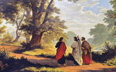 El camino de Emaús después de la resurrección con Jesús y dos discípulos