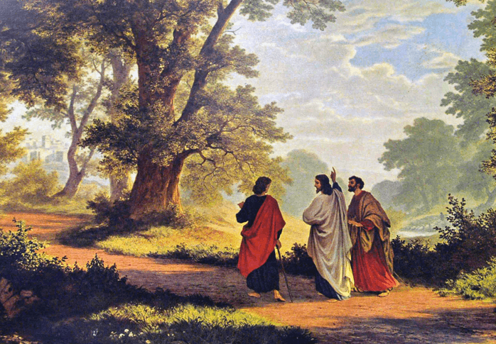 Emmaus Walk Following the Resurrection with Jesus and Two Disciples