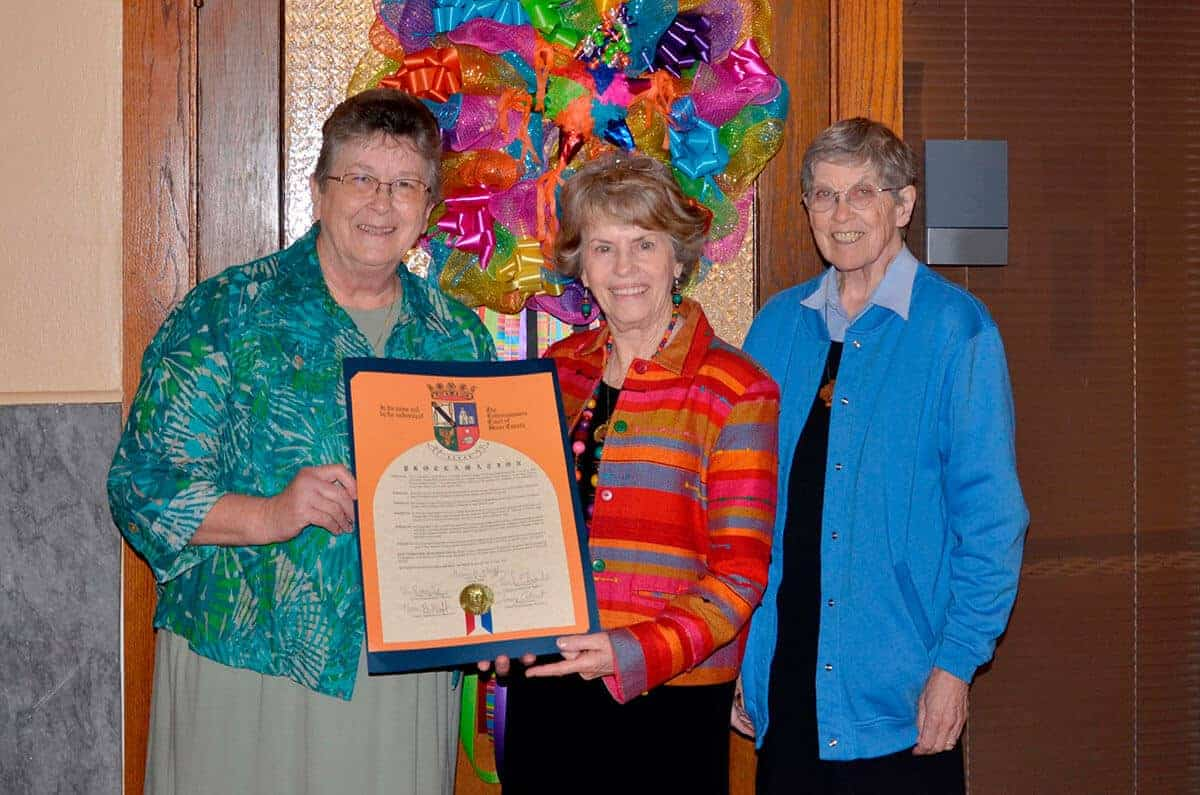 Pictured from left to right: Sister Margaret Snyder, Michele O'Brien and Sister Juanita Albracht.
